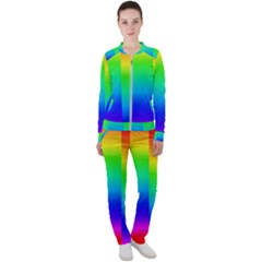 Rainbow Colour Bright Background Casual Jacket And Pants Set