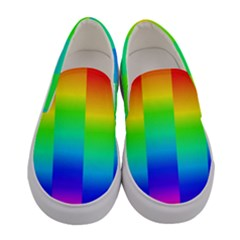 Rainbow Colour Bright Background Women s Canvas Slip Ons