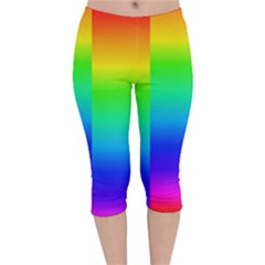 Rainbow Colour Bright Background Velvet Capri Leggings