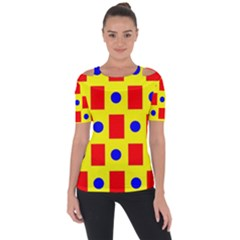 Pattern Design Backdrop Red Blue Yellow Shoulder Cut Out Short Sleeve Top
