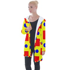 Pattern Design Backdrop Red Blue Yellow Longline Hooded Cardigan by Pakrebo