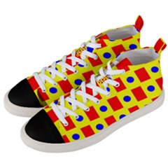 Pattern Design Backdrop Red Blue Yellow Men s Mid Top Canvas Sneakers by Pakrebo