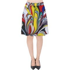 Abstract Colorful Illusion Velvet High Waist Skirt