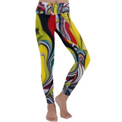 Abstract Colorful Illusion Kids  Lightweight Velour Classic Yoga Leggings by Pakrebo