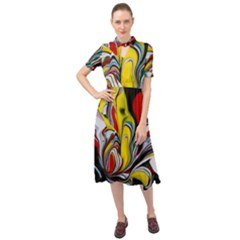 Abstract Colorful Illusion Keyhole Neckline Chiffon Dress
