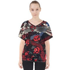 Fractal Flowers Free Illustration V Neck Dolman Drape Top