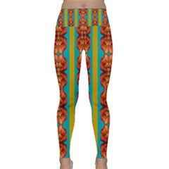 Love For The Fantasy Flowers With Happy Joy Lightweight Velour Classic Yoga Leggings