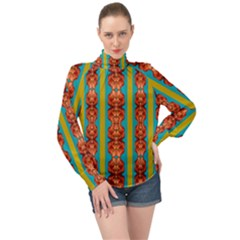 Love For The Fantasy Flowers With Happy Joy High Neck Long Sleeve Chiffon Top