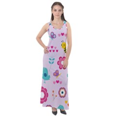 Birds Floral Flowers Retro Spring Sleeveless Velour Maxi Dress