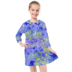 Abstract Blue Kids  Quarter Sleeve Shirt Dress