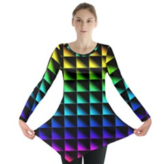 Rainbow Colour Bright Background Long Sleeve Tunic