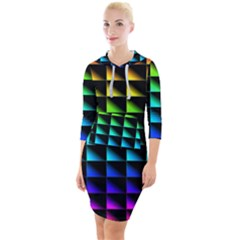 Rainbow Colour Bright Background Quarter Sleeve Hood Bodycon Dress