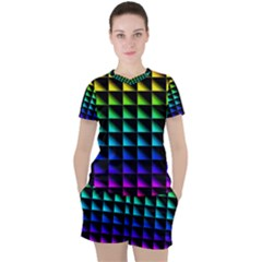 Rainbow Colour Bright Background Women s Tee And Shorts Set by Pakrebo