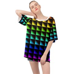 Rainbow Colour Bright Background Oversized Chiffon Top