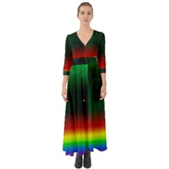 Galaxy Rainbow Universe Star Space Button Up Boho Maxi Dress