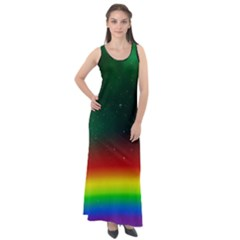Galaxy Rainbow Universe Star Space Sleeveless Velour Maxi Dress