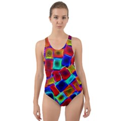 Neon Glow Glowing Light Design Cut-out Back One Piece Swimsuit