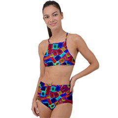 Neon Glow Glowing Light Design High Waist Tankini Set
