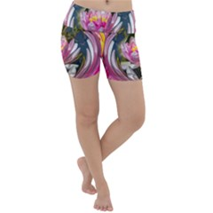 Flower Ornament Color Background Lightweight Velour Yoga Shorts by Pakrebo
