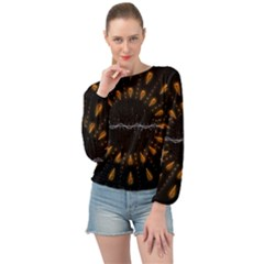 Background Pattern Bright Graphic Banded Bottom Chiffon Top