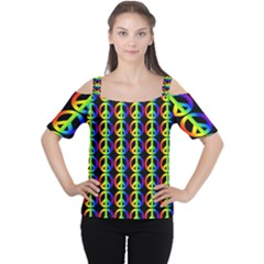 Retro Rainbow Gradient Peace Symbol Cutout Shoulder Tee