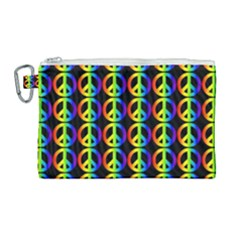 Retro Rainbow Gradient Peace Symbol Canvas Cosmetic Bag (large) by Pakrebo