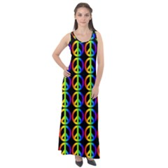 Retro Rainbow Gradient Peace Symbol Sleeveless Velour Maxi Dress