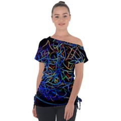 Neon Background Light Design Tie Up Tee by Pakrebo