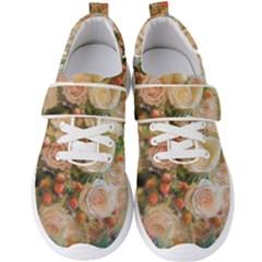 Ackground Flowers Colorful Men s Velcro Strap Shoes by Pakrebo