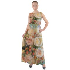 Ackground Flowers Colorful Chiffon Mesh Maxi Dress