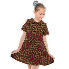 Celtic Spiritual Pattern Art Kids  Short Sleeve Shirt Dress