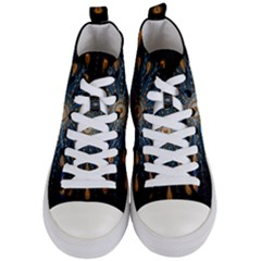 Explosion Fireworks Flare Up Women s Mid Top Canvas Sneakers