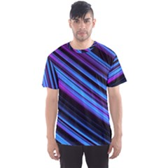 Blue Abstract Lines Pattern Light Men s Sports Mesh Tee