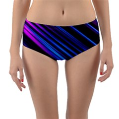 Blue Abstract Lines Pattern Light Reversible Mid Waist Bikini Bottoms