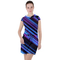 Blue Abstract Lines Pattern Light Drawstring Hooded Dress