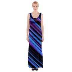 Blue Abstract Lines Pattern Light Maxi Thigh Split Dress by Pakrebo