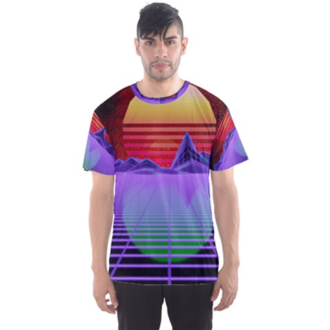 Synthwave Retrowave Synth Men s Sports Mesh Tee by Pakrebo