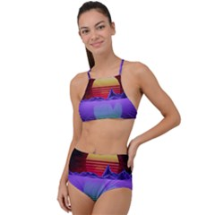 Synthwave Retrowave Synth High Waist Tankini Set by Pakrebo