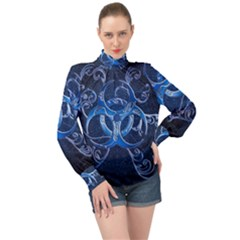 Background Creativity Form Pattern High Neck Long Sleeve Chiffon Top