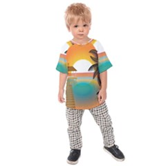 Sunset Beach Beach Palm Ocean Kids  Raglan Tee