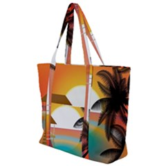 Sunset Beach Beach Palm Ocean Zip Up Canvas Bag