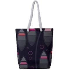 Background Blacks Pinks Full Print Rope Handle Tote (small)