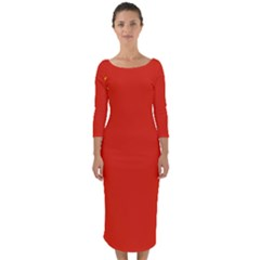 China Flag Quarter Sleeve Midi Bodycon Dress by FlagGallery