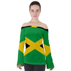 Jamaica Flag Off Shoulder Long Sleeve Top by FlagGallery