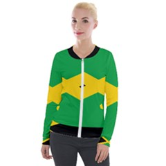 Jamaica Flag Velour Zip Up Jacket by FlagGallery