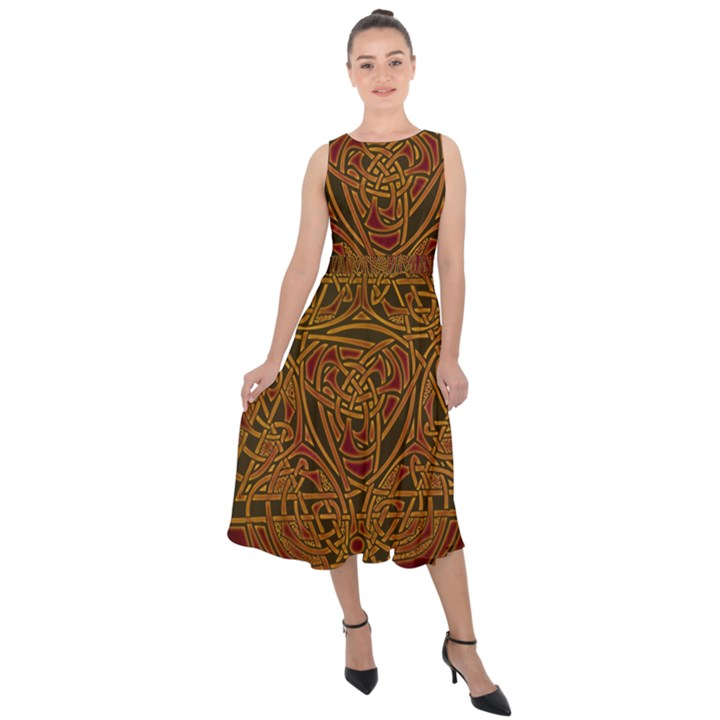 Celtic Spiritual Pattern Art Midi Tie-Back Chiffon Dress