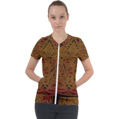 Celtic Spiritual Pattern Art Short Sleeve Zip Up Jacket