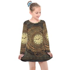 Noble Steampunk Clockwork Kids  Long Sleeve Dress by FantasyWorld7