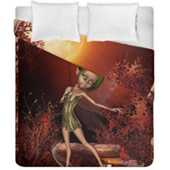 Little Fairy Dancing In The Night Duvet Cover Double Side (california King Size) by FantasyWorld7