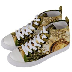 Bubbles Fantasy Green Design Women s Mid Top Canvas Sneakers by Pakrebo